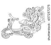 motor scooter doodle in nice... | Shutterstock .eps vector #657257275