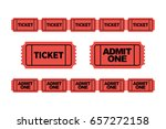 set of red admit one ticket... | Shutterstock .eps vector #657272158
