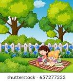 two girls reading in backyard... | Shutterstock .eps vector #657277222