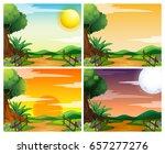 four scenes of sunset in... | Shutterstock .eps vector #657277276