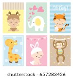 Stock vector vector illustration of baby shower greeting card and invitation set in cute animal theme 657283426
