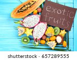 juicy exotic fruits with card... | Shutterstock . vector #657289555