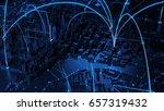 3d render of digital city....   Shutterstock . vector #657319432