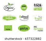 set of natural organic vegan... | Shutterstock .eps vector #657322882
