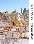 Small photo of Ephesus ruins. Ancient Greek city on the coast of Ionia near Selcuk. Izmir province. Turkey. Asia Minor