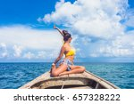 traveler woman in bikini posing ... | Shutterstock . vector #657328222