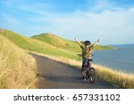 happy boy with open arms riding ... | Shutterstock . vector #657331102