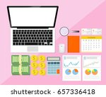 business desktop with documents ...