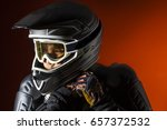 portrait of a motorcyclist who... | Shutterstock . vector #657372532