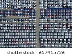 aerial view of new car storage...   Shutterstock . vector #657415726