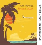 airplane and tropical palms... | Shutterstock . vector #657418126