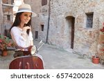 beautiful girl in a hat in a...   Shutterstock . vector #657420028
