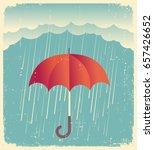 rain cloud with red umbrella ... | Shutterstock . vector #657426652