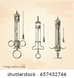 vintage medicine syringe hand... | Shutterstock .eps vector #657432766