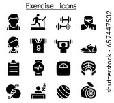 exercise   fitness icon set  | Shutterstock .eps vector #657447532