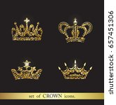 set of vector gold crown icons. ...   Shutterstock .eps vector #657451306