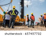 engineer and foreman looking at ... | Shutterstock . vector #657457732