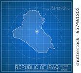 republic of iraq blueprint map... | Shutterstock .eps vector #657461302