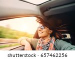 woman with flying hair looks... | Shutterstock . vector #657462256