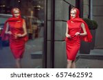 stylish woman looks at the shop ... | Shutterstock . vector #657462592
