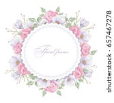 floral round frame with ... | Shutterstock .eps vector #657467278