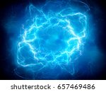 blue glowing plasma lightning ... | Shutterstock . vector #657469486