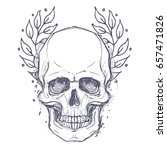 gothic coat of arms with skull. ...   Shutterstock .eps vector #657471826