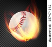 flaming realistic baseball ball ... | Shutterstock .eps vector #657474592