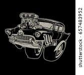 vector cartoon retro hot rod | Shutterstock .eps vector #657483952