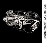 vector cartoon retro hot rod | Shutterstock .eps vector #657483958