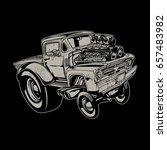 vector cartoon retro hot rod | Shutterstock .eps vector #657483982