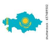 kazakhstan flag map. country... | Shutterstock . vector #657489502