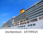 Large Cruise Ship With Yellow...