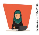woman in call center occupation.... | Shutterstock .eps vector #657490948