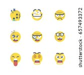 set of emoticons with different ... | Shutterstock .eps vector #657493372