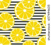 fresh lemons background  hand... | Shutterstock .eps vector #657494635