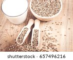 close up of hemp milk and seeds ... | Shutterstock . vector #657496216