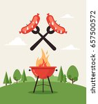 invitation card on the barbecue.... | Shutterstock .eps vector #657500572