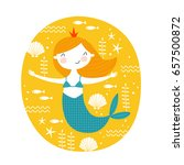 template with cute mermaid for... | Shutterstock .eps vector #657500872