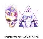 watercolor human skull steampunk   Shutterstock . vector #657516826