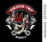 skull of biker in t shirt style ... | Shutterstock .eps vector #657531532