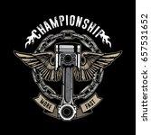 vintage bikes emblem  piston... | Shutterstock .eps vector #657531652
