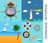 four sea set with description... | Shutterstock .eps vector #657535132