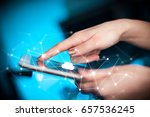female hands touching tablet... | Shutterstock . vector #657536245