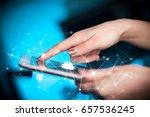 female hands touching tablet... | Shutterstock . vector #657536245