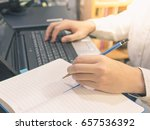 a man typing on laptop and... | Shutterstock . vector #657536392