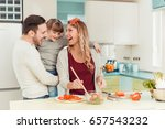 happy family preparing... | Shutterstock . vector #657543232