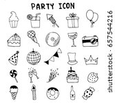 hand drawn of party icon set... | Shutterstock .eps vector #657544216