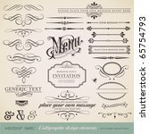 vector set: calligraphic design elements and page decoration - lots of useful elements to embellish your layout | Shutterstock vector #65754793