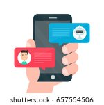 man person hand chatting on... | Shutterstock .eps vector #657554506